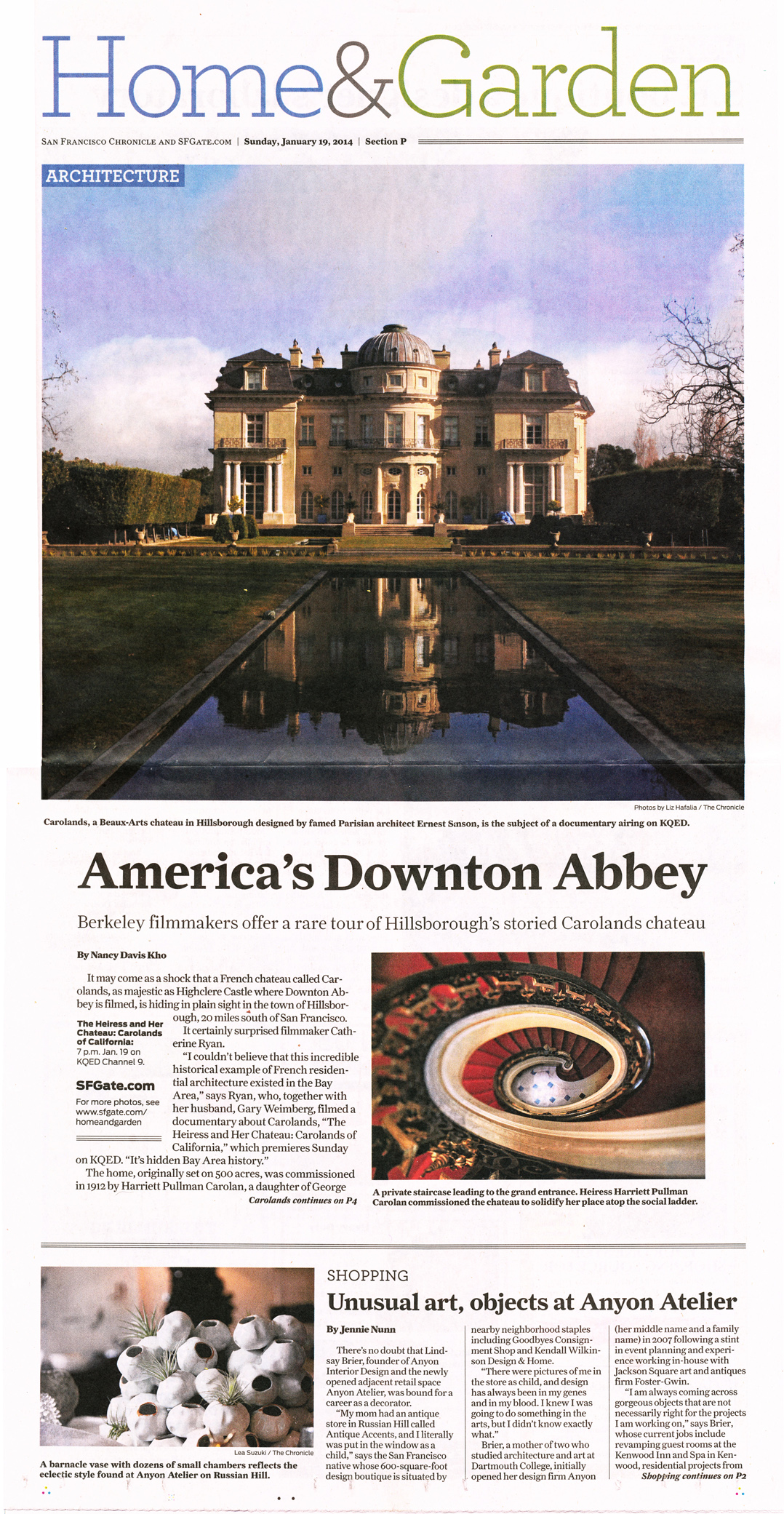 Chateau Carolands in SF Chronicle