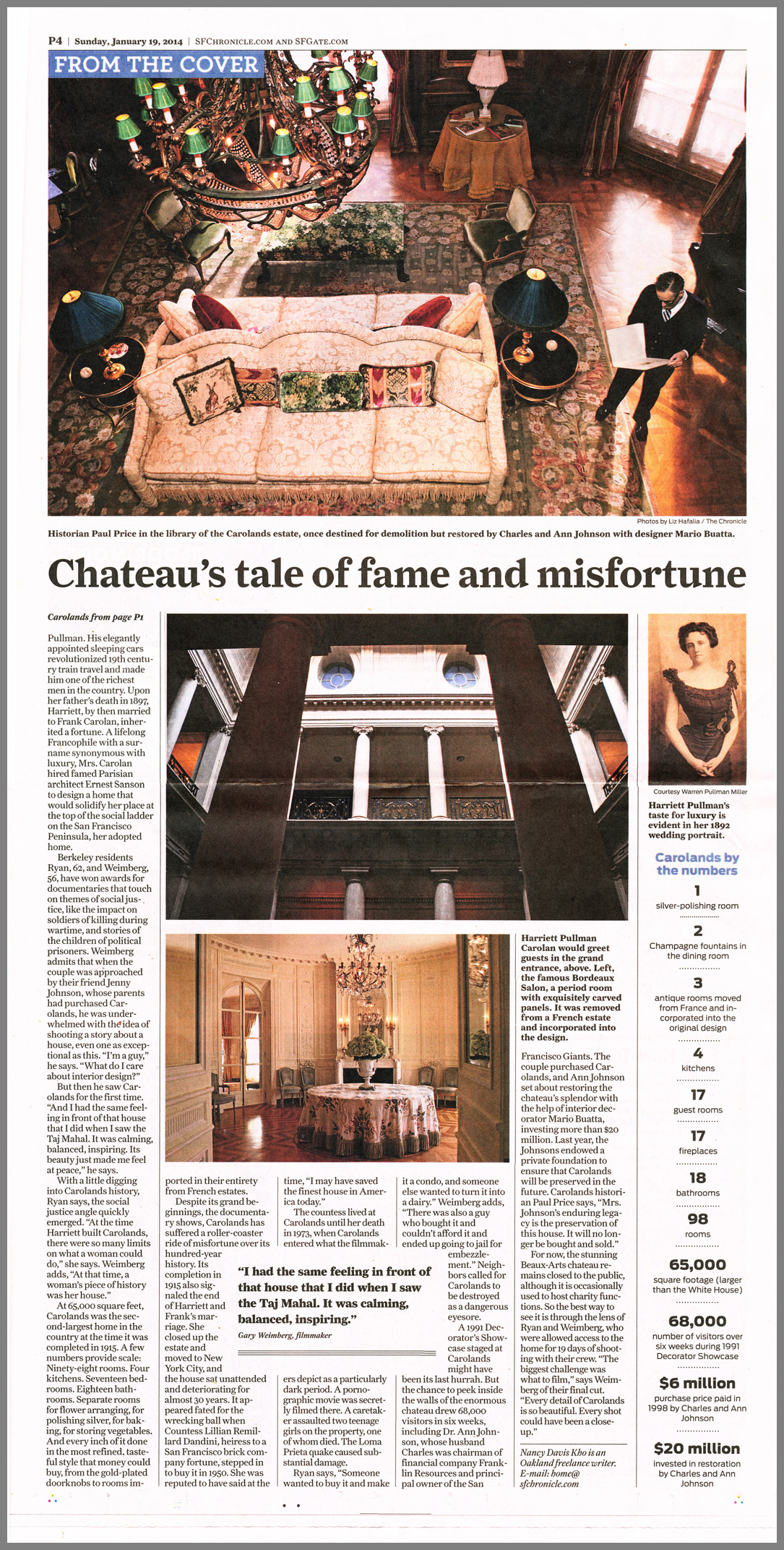 Chateau Carolands in SF Chronicle, pg2