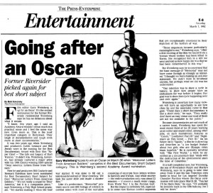 Home town press covers Gary and Oscar Nom for MEMORIAL